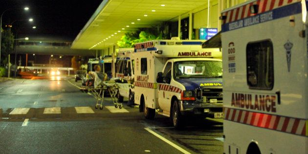 Ambulances are lined up outside the International Terminal as hospitals are being evacuated to Brisbane...