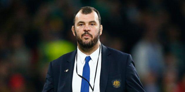 LONDON, ENGLAND - OCTOBER 31: Michael Cheika the head coach of Australia following his team's defeat...