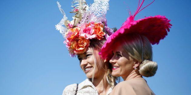 MELBOURNE, AUSTRALIA - NOVEMBER 03: Racegoers enjoy the atmosphere on Melbourne Cup Day at Flemington...