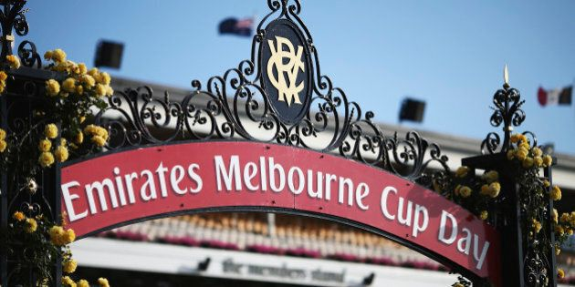 MELBOURNE, AUSTRALIA - NOVEMBER 03: A general view on Melbourne Cup Day at Flemington Racecourse on November...