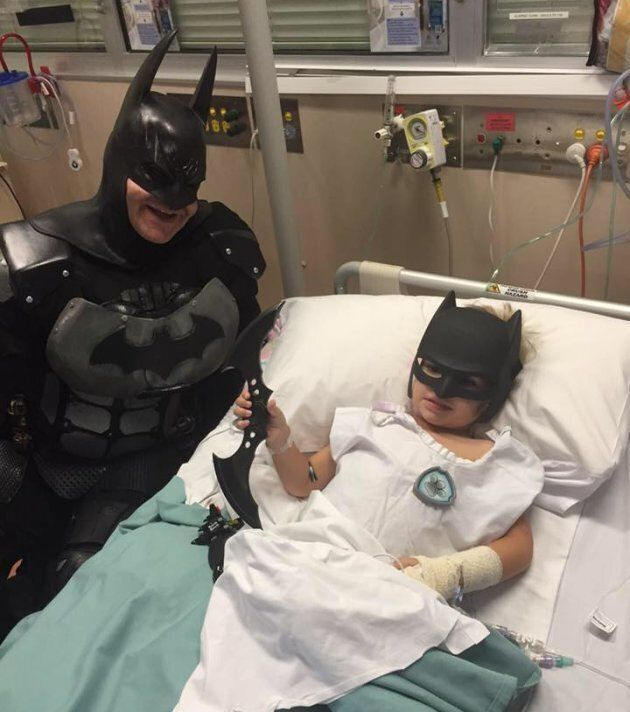 Batman was called into the Women's and Children's Hospital in Adelaide to help Eamon take on cancer.