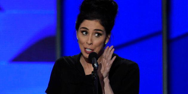 Comedian Sarah Silverman speaks during Day 1 of the Democratic National Convention at the Wells Fargo Center in Philadelphia, Pennsylvania, July 25, 2016. / AFP / SAUL LOEB        (Photo credit should read SAUL LOEB/AFP/Getty Images)