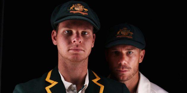 SYDNEY, AUSTRALIA - OCTOBER 19: Steve Smith and David Warner of Australia pose during an Australian Test...