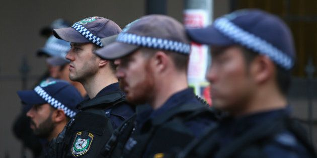 SYDNEY, AUSTRALIA - OCTOBER 09: Police watch on as they separate protestors in Marden street outside...
