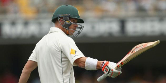 BRISBANE, AUSTRALIA - NOVEMBER 05: David Warner of Australia celebrates after reaching his half century...