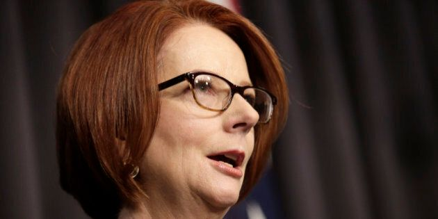 Australian Prime Minister Julia Gillard speaks to the media following a leadership ballot for the Labor...