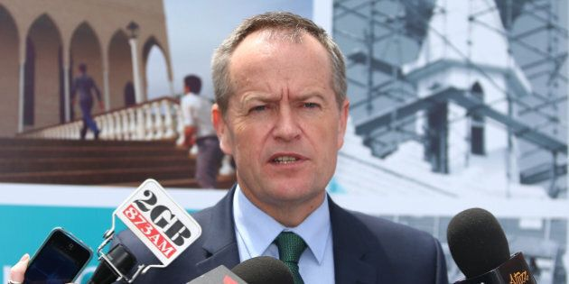 SYDNEY, AUSTRALIA - OCTOBER 31:  Australian Opposition Leader Bill Shorten talks to the media after attending an open day at Lakemba Mosque on October 31, 2015 in Sydney, Australia. Mosques held open days across the country to help foster better relations between Muslim and non-Muslim Australians.  (Photo by Daniel Munoz/Getty Images)