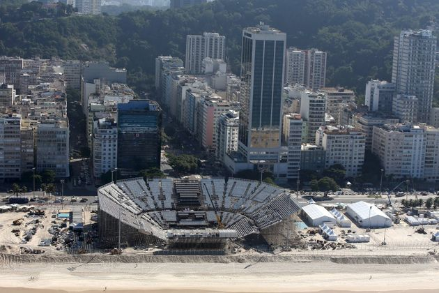 The beach volleyball stadium on Copacabana Beach, near where the Nine crew was attacked. Some matches...