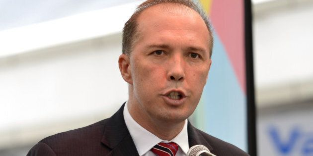 BRISBANE, AUSTRALIA - FEBRUARY 14: The Federal Minister for Sport Peter Dutton speaks during the media...