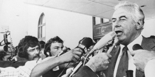 During Australia's constitutional crisis of 1975, Prime Minister Gough Whitlam addresses reporters outside...