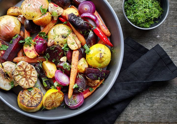 Roasting veggies with the skin on adds texture and depth of flavour.