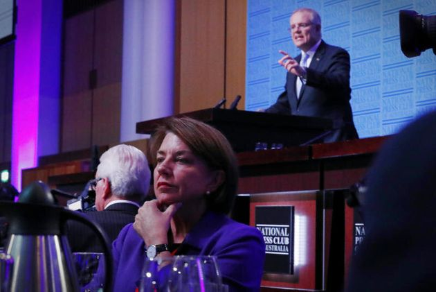 Anna Bligh listens as Treasurer Scott Morrison delivers his post-Budget address in the Great Hall at...