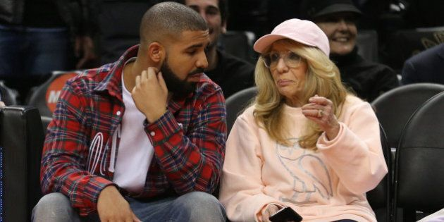 TORONTO, ON - NOVEMBER 25: Drake, and mom Sandi Graham, courtside. Toronto Raptors vs Cleveland Cavaliers...