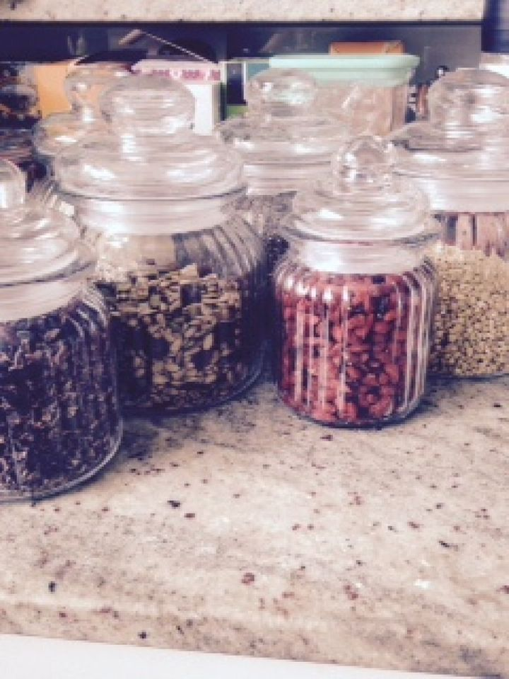 Organising my superfoods into the other great trend at the moment -- jars!