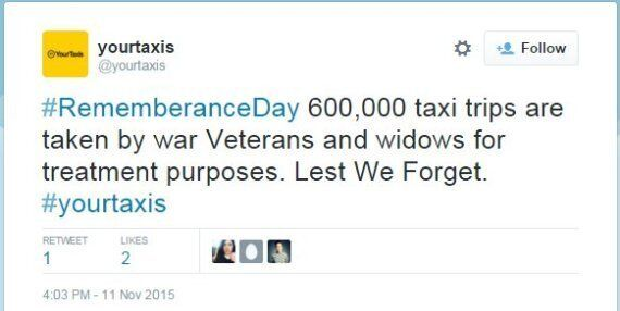 Victoria Taxis Responds To Remembrance Day Tweet