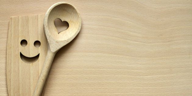 Wooden kitchenware on cutting board abstract food