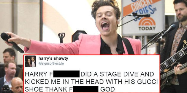 Harry Styles Makes A Fan's Dream Come True, Accidentally Kicks Her In The