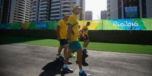 A fire has erupted in the Australian team's building at