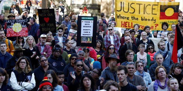 Demonstrators gathered outside Sydney's Town Hall, with rallies also underway in Melbourne, Adelaide,...