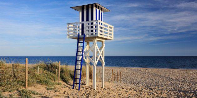 Lifeguard Tower on Beach, Isla Christina, Huelva, Andalucia,