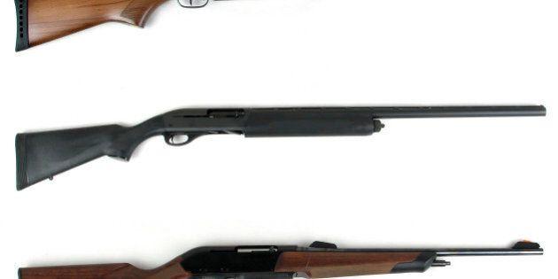 Hunting rifles - modern rifles and modern shotgun isolated on white