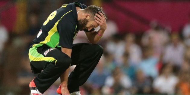 SYDNEY, AUSTRALIA - JANUARY 31: Andrew Tye of Australia reacts during the International Twenty20 match...