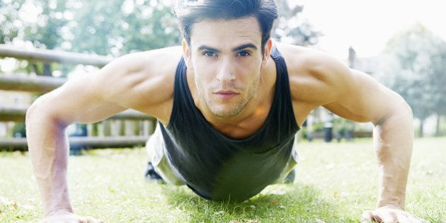 man doing exercise in