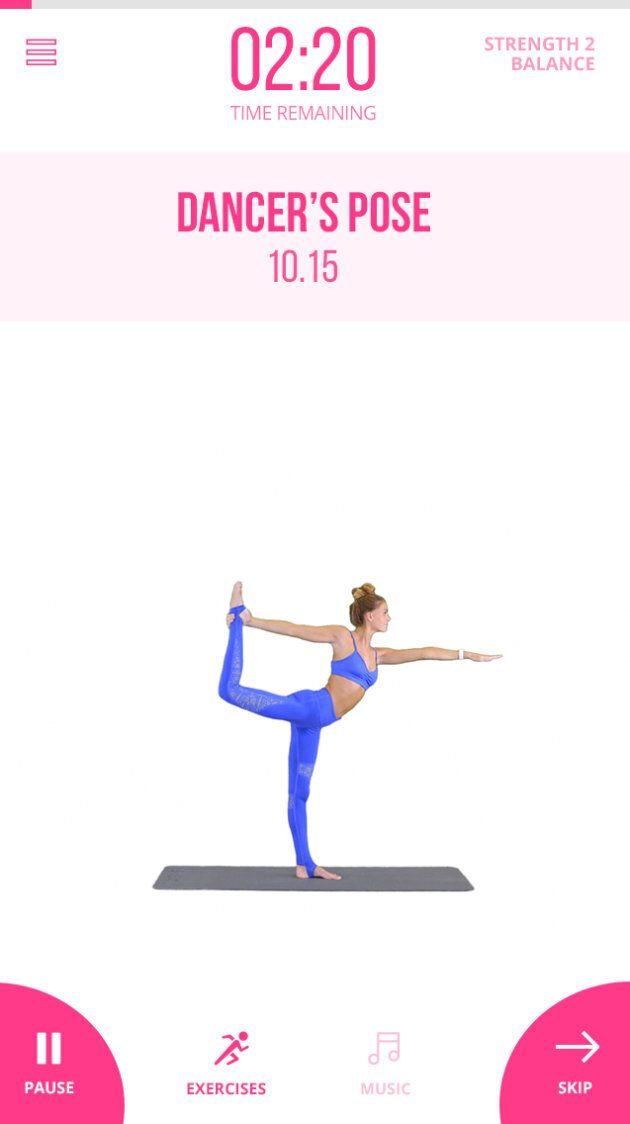 A glossary screen can be accessed by tapping the exercise video wherever you are in the app.
