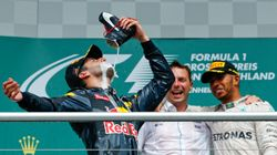 Daniel Ricciardo Drinks Champagne From A Shoe To Celebrate Winning The German Grand