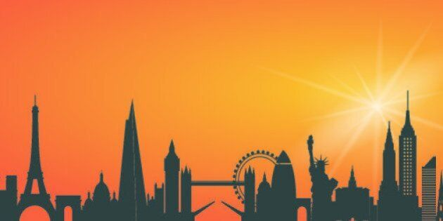 City skyline including Paris, London, New York and