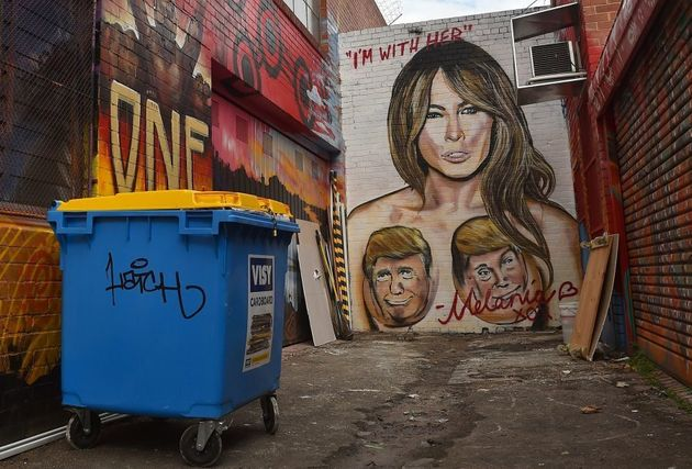 A mural depicting Republican US presidential nominee Donald Trump's wife Melania, with Trump's face over...
