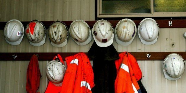 (AUSTRALIA & NEW ZEALAND OUT) Miners hats hang outside a mine at Candia Hill gold and copper mine, 18...