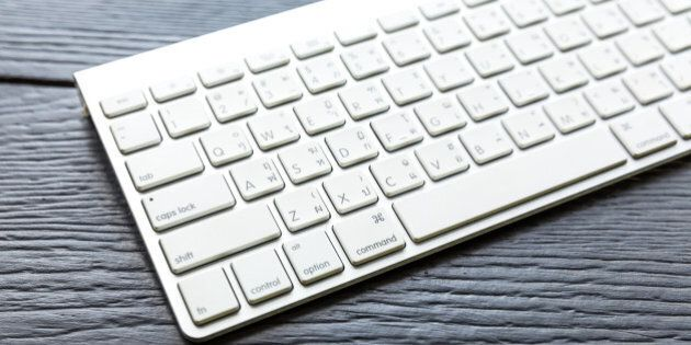 HARD, THAILAND - SEP 11, 2015 Close up of the typical Mac Keyboard of an Apple wireless