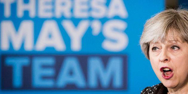Media focus: Theresa May during a campaign visit to York Barbican this week