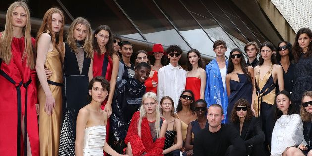 Designer Dion Lee with models following the Mercedes-Benz Presents Dion Lee show at Mercedes-Benz Fashion...