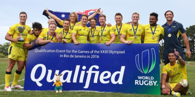 AUCKLAND, NEW ZEALAND - NOVEMBER 15: Australian players celebrate after winning the World Sevens Oceania...