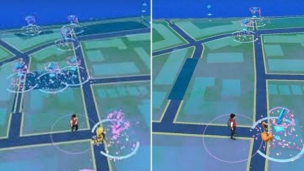Where Peg Paterson Park's Pokestops used to be, and what the scene looks like now, with the three stops
