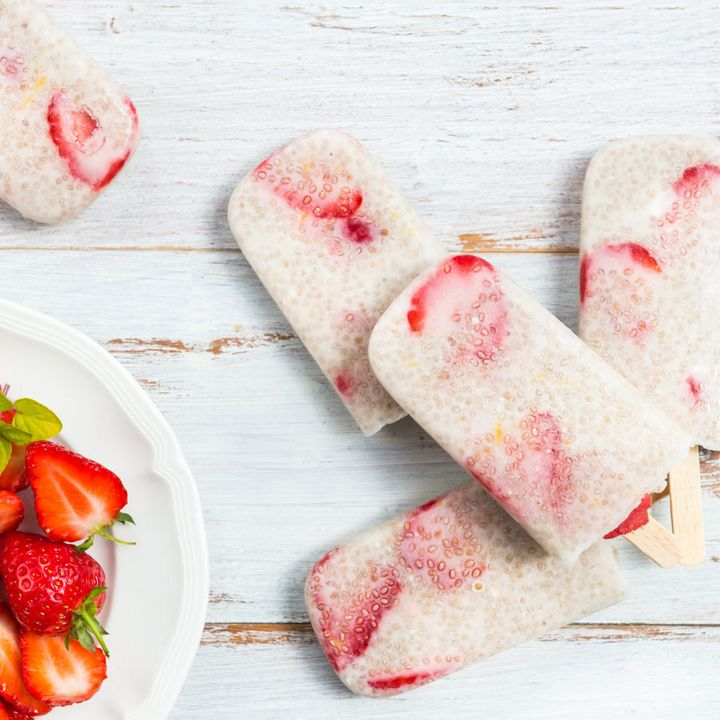 Pour the ice cream mixture into moulds for healthy icy poles.