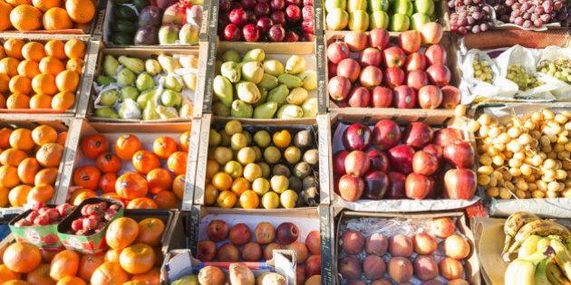 UK, London, fruit and veg for sale in Borough market,