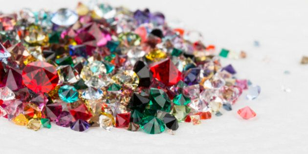 Collection of many different natural gemstones. Stock Image macro.