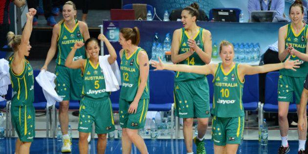 ISTANBUL, TURKEY - OCTOBER 5: Australia's players celebrate their win agaist Turkey in the 2014 FIBA...