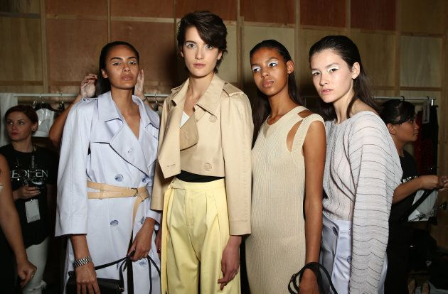 Models backstage ahead of the Christopher Esber show.
