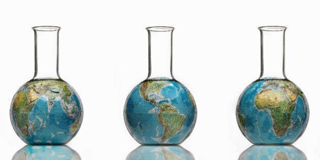 Globe in laboratory bottle