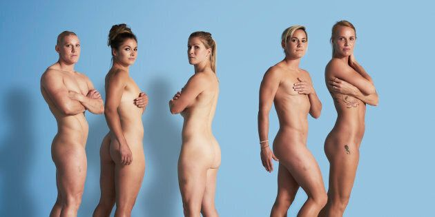 Team GB's (L-R) Heather Fisher, Amy Wilson-Hardy, Michaela Staniford, Danielle Waterman and Claire Allan