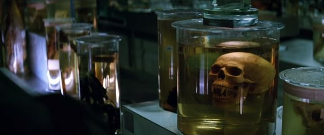 Spooky heads in spooky jars. The featurette for