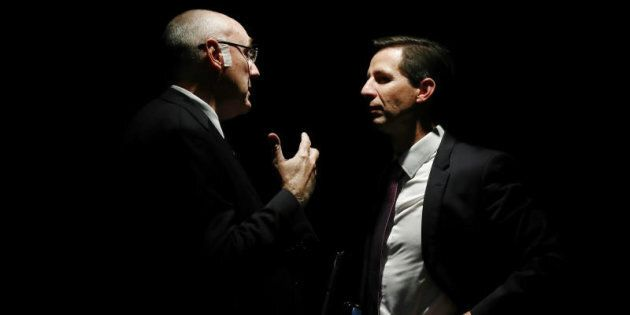 Universities Australia Chair Professor Barney Glover and Education Minister Simon Birmingham together,...