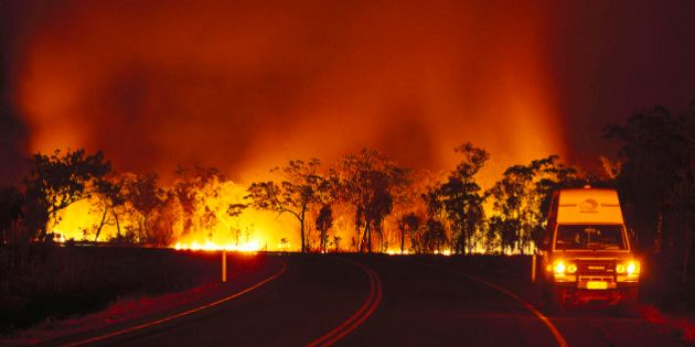 Bush fire at Arnhem Highway at night, Kakadu National Park, Northern Territory,