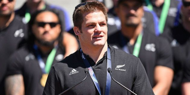 WELLINGTON, NEW ZEALAND - NOVEMBER 06: Richie McCaw addresses the crowd gathered at Parliement during the New Zealand All Blacks Welcome Home Celebrations on November 6, 2015 in Wellington, New Zealand.  (Photo by Mark Tantrum/Getty Images)