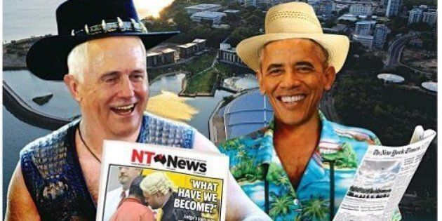 NT News Front Page Puts Obama And Turnbull Into Crocodile