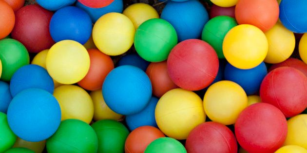 Plastic balls in colors of blue, red, green, yellow and